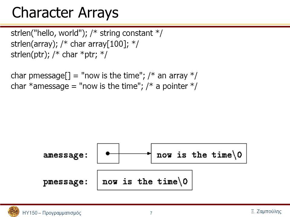 ΗΥ150 – Προγραμματισμός Ξ. Ζαμπούλης 7 Character Arrays strlen(