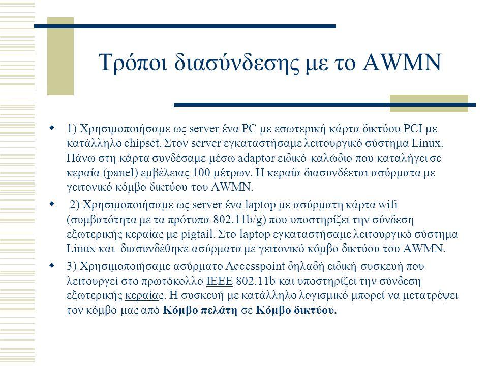 Τρόποι διασύνδεσης με το AWMN  1) Χρησιμοποιήσαμε ως server ένα PC με εσωτερική κάρτα δικτύου PCI με κατάλληλο chipset.