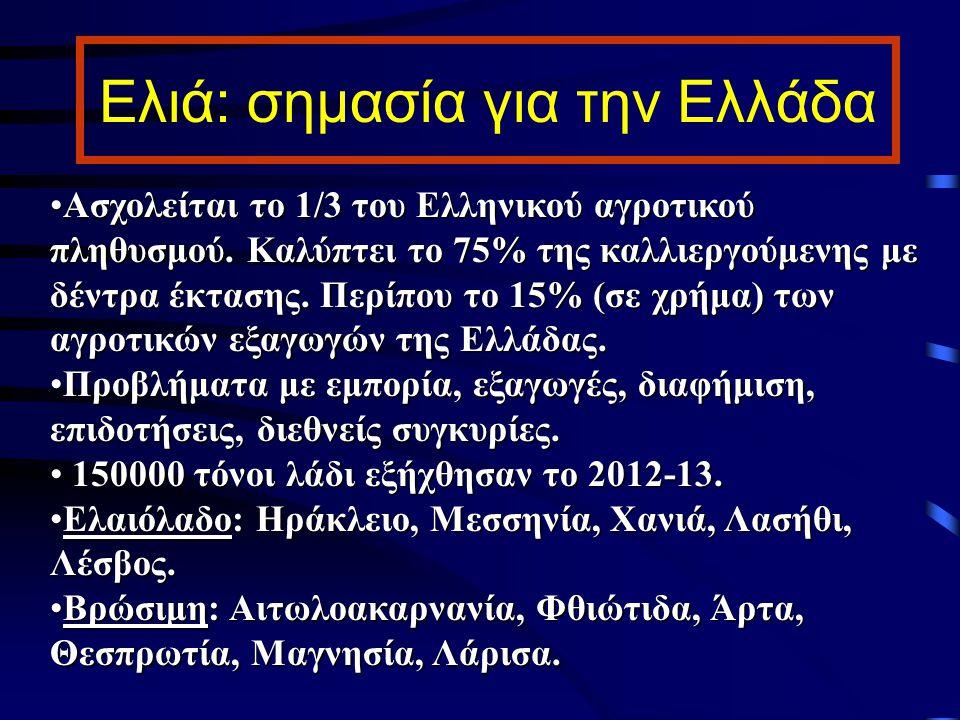 Ελιά: σημασία για την Ελλάδα Ασχολείται το 1/3 του Ελληνικού αγροτικού πληθυσμού. Καλύπτει το 75% της καλλιεργούμενης με δέντρα έκτασης. Περίπου το 15