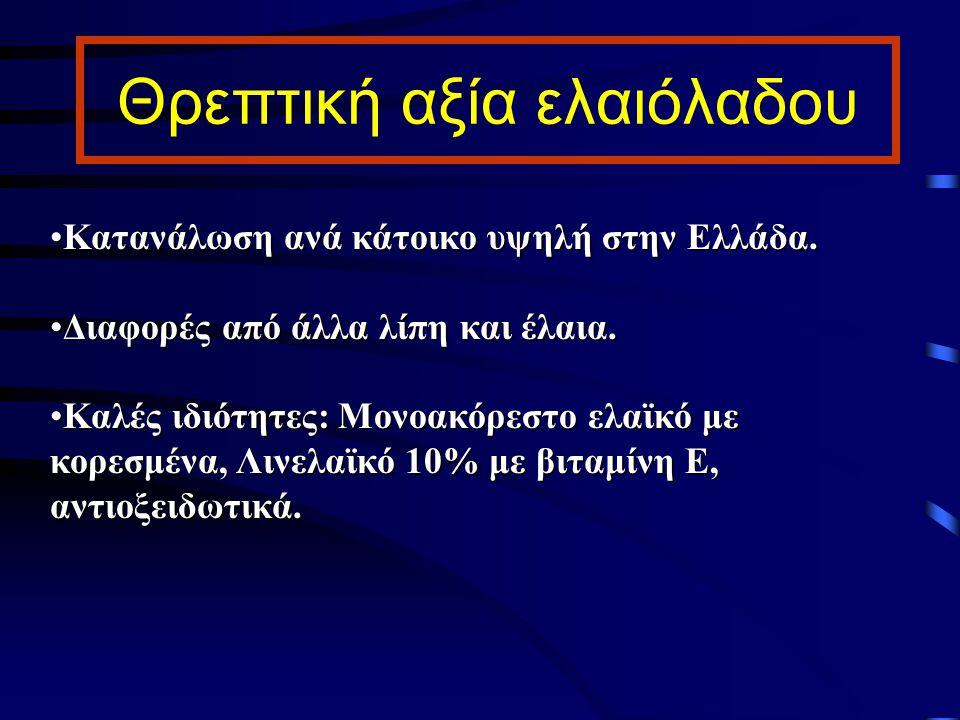 Θρεπτική αξία ελαιόλαδου Κατανάλωση ανά κάτοικο υψηλή στην Ελλάδα.Κατανάλωση ανά κάτοικο υψηλή στην Ελλάδα. Διαφορές από άλλα λίπη και έλαια.Διαφορές
