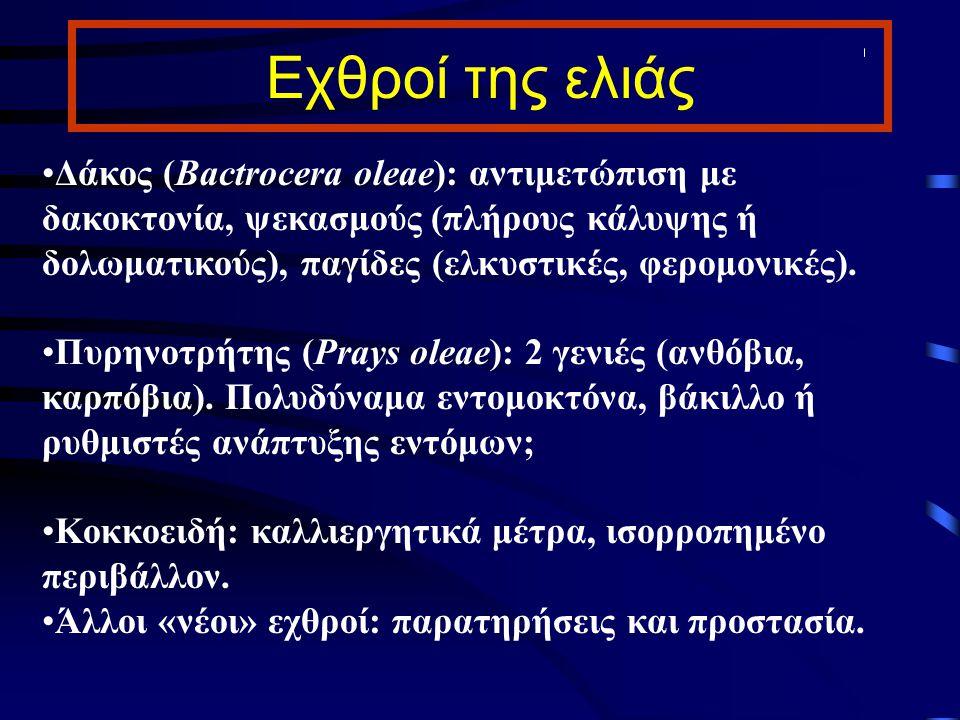 Εχθροί της ελιάς Δάκος (Bactrocera oleae): αντιμετώπιση με δακοκτονία, ψεκασμούς (πλήρους κάλυψης ή δολωματικούς), παγίδες (ελκυστικές, φερομονικές).