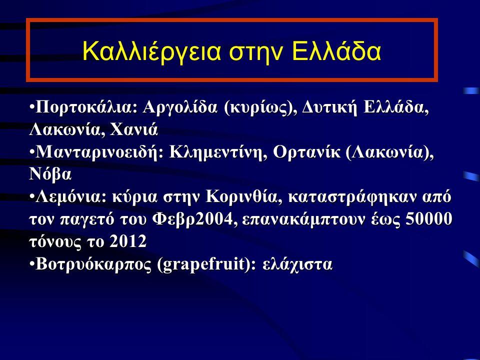Καλλιέργεια στην Ελλάδα Πορτοκάλια: Αργολίδα (κυρίως), Δυτική Ελλάδα, Λακωνία, ΧανιάΠορτοκάλια: Αργολίδα (κυρίως), Δυτική Ελλάδα, Λακωνία, Χανιά Μαντα