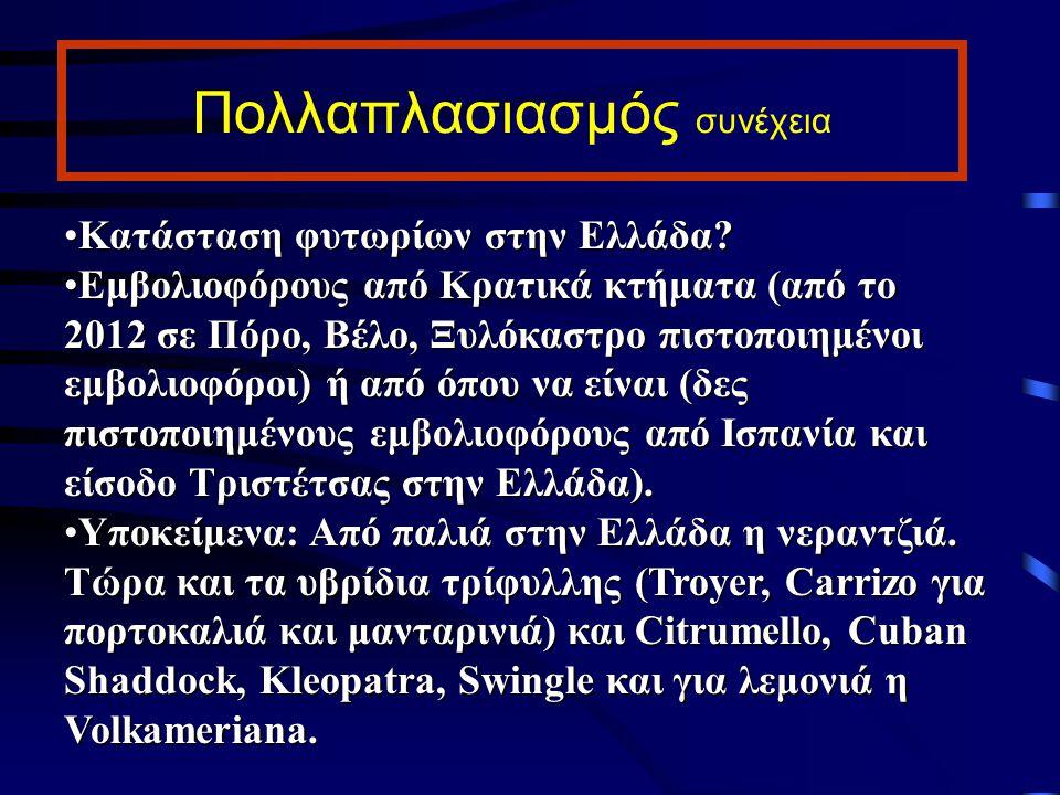 Πολλαπλασιασμός συνέχεια Κατάσταση φυτωρίων στην Ελλάδα?Κατάσταση φυτωρίων στην Ελλάδα? Εμβολιοφόρους από Κρατικά κτήματα (από το 2012 σε Πόρο, Βέλο,