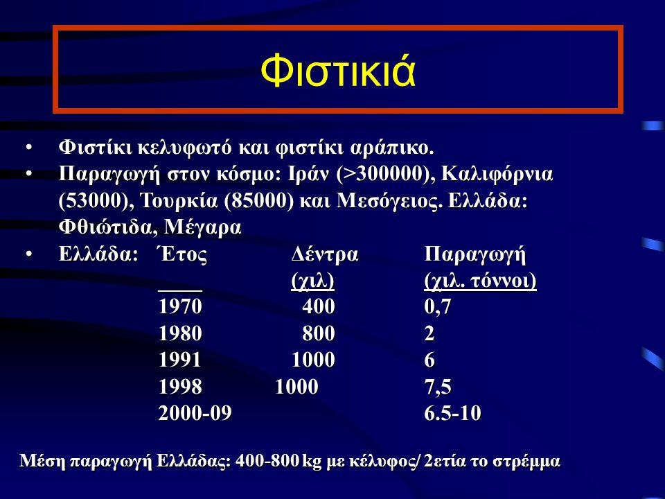 Φιστικιά Φιστίκι κελυφωτό και φιστίκι αράπικο.Φιστίκι κελυφωτό και φιστίκι αράπικο. Παραγωγή στον κόσμο: Ιράν (>300000), Καλιφόρνια (53000), Τουρκία (