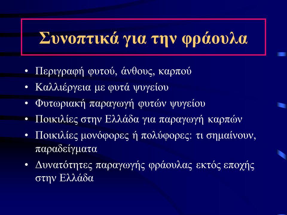 Συνοπτικά για την φράουλα Περιγραφή φυτού, άνθους, καρπού Καλλιέργεια με φυτά ψυγείου Φυτωριακή παραγωγή φυτών ψυγείου Ποικιλίες στην Ελλάδα για παραγ