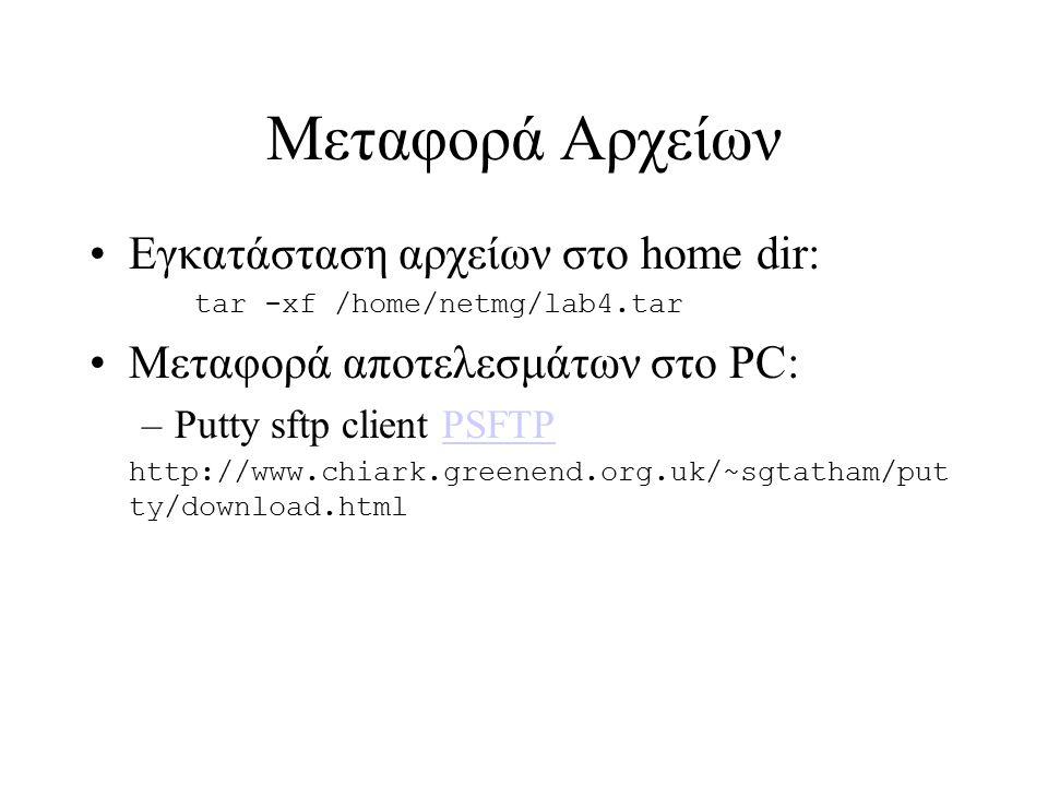 Μεταφορά Αρχείων Εγκατάσταση αρχείων στο home dir: tar -xf /home/netmg/lab4.tar Μεταφορά αποτελεσμάτων στο PC: –Putty sftp client PSFTPPSFTP http://www.chiark.greenend.org.uk/~sgtatham/put ty/download.html