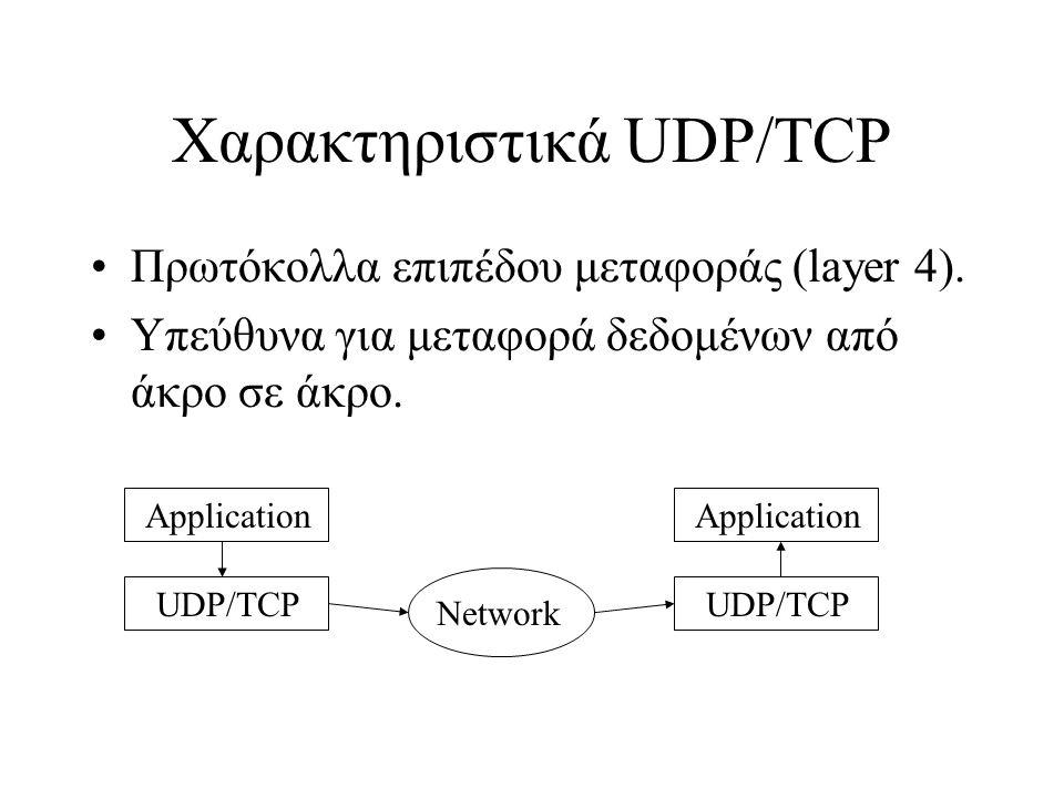 Χαρακτηριστικά UDP/TCP Πρωτόκολλα επιπέδου μεταφοράς (layer 4). Υπεύθυνα για μεταφορά δεδομένων από άκρο σε άκρο. Application UDP/TCP Application UDP/