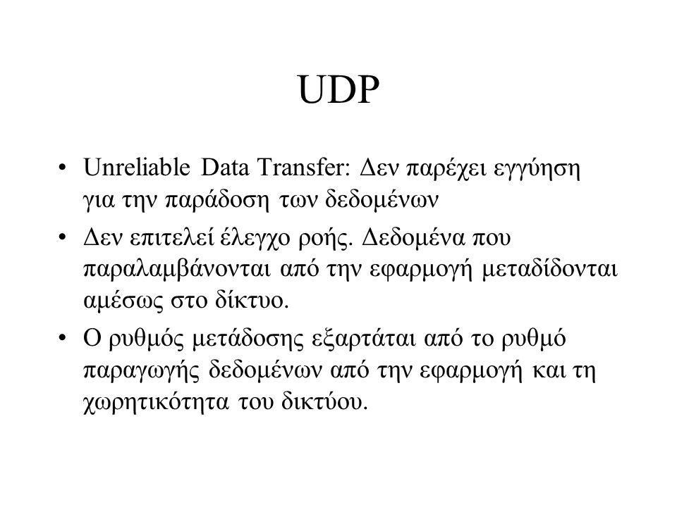 UDP Unreliable Data Transfer: Δεν παρέχει εγγύηση για την παράδοση των δεδομένων Δεν επιτελεί έλεγχο ροής. Δεδομένα που παραλαμβάνονται από την εφαρμο