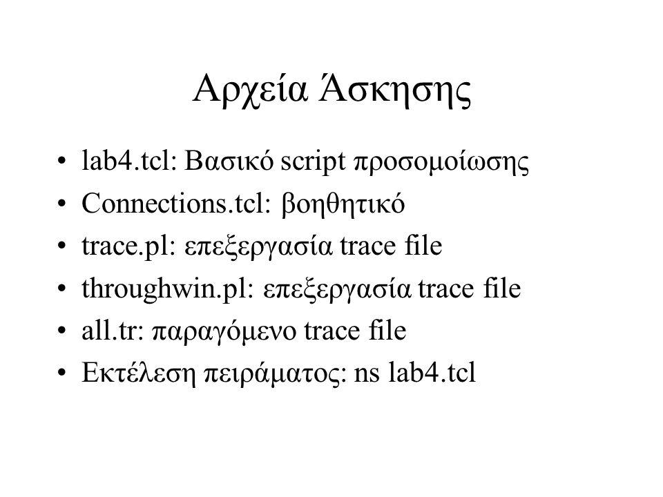 Αρχεία Άσκησης lab4.tcl: Βασικό script προσομοίωσης Connections.tcl: βοηθητικό trace.pl: επεξεργασία trace file throughwin.pl: επεξεργασία trace file