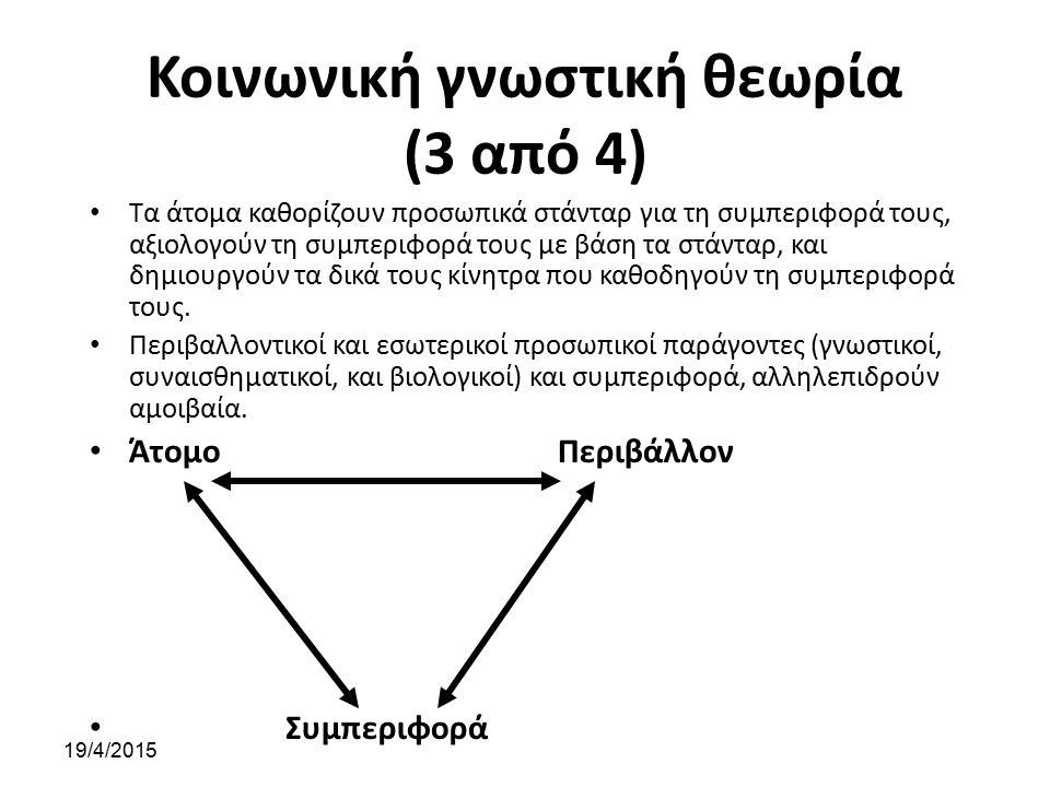 Κοινωνική γνωστική θεωρία (3 από 4) Τα άτομα καθορίζουν προσωπικά στάνταρ για τη συμπεριφορά τους, αξιολογούν τη συμπεριφορά τους με βάση τα στάνταρ,