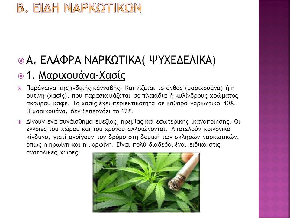  Α. ΕΛΑΦΡΑ ΝΑΡΚΩΤΙΚΑ( ΨΥΧΕΔΕΛΙΚΑ)  1. Μαριχουάνα-Χασίς  Παράγωγα της ινδικής κάνναβης. Καπνίζεται το άνθος (μαριχουάνα) ή η ρυτίνη (χασίς), που παρ