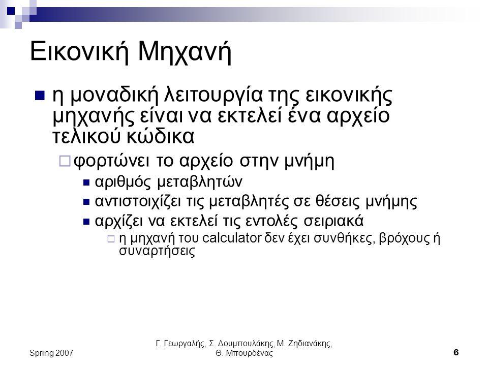 Γ. Γεωργαλής, Σ. Δουμπουλάκης, Μ. Ζηδιανάκης, Θ. Μπουρδένας6 Spring 2007 Εικονική Μηχανή η μοναδική λειτουργία της εικονικής μηχανής είναι να εκτελεί