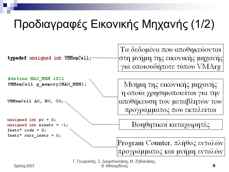 Γ. Γεωργαλής, Σ. Δουμπουλάκης, Μ. Ζηδιανάκης, Θ. Μπουρδένας9 Spring 2007 Προδιαγραφές Εικονικής Μηχανής (1/2)