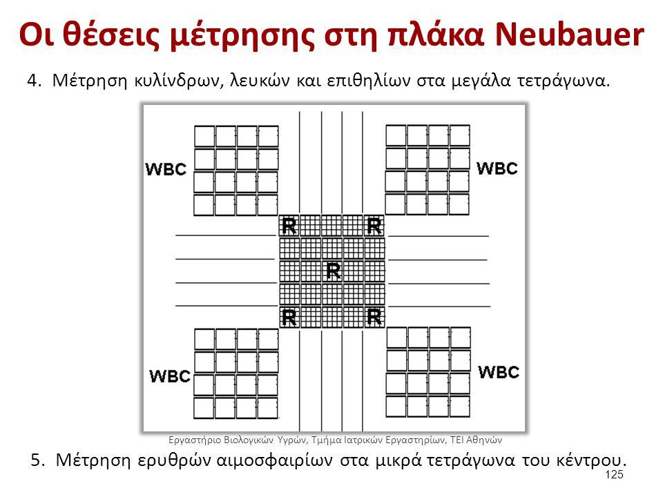 Οι θέσεις μέτρησης στη πλάκα Neubauer 4.Μέτρηση κυλίνδρων, λευκών και επιθηλίων στα μεγάλα τετράγωνα. 5.Μέτρηση ερυθρών αιμοσφαιρίων στα μικρά τετράγω