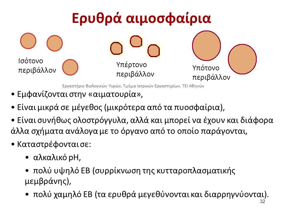Ερυθρά αιμοσφαίρια Υπότονο περιβάλλον Υπέρτονο περιβάλλον Iσότονο περιβάλλον Εμφανίζονται στην «αιματουρία», Είναι μικρά σε μέγεθος (μικρότερα από τα