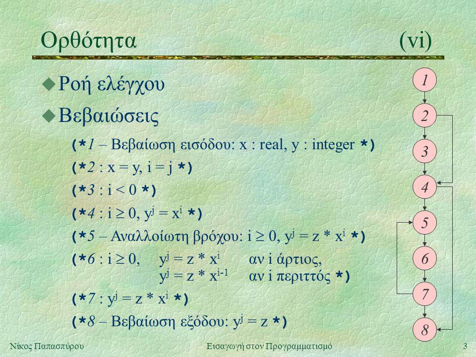 3Νίκος Παπασπύρου Εισαγωγή στον Προγραμματισμό Ορθότητα(vi) u Ροή ελέγχου 1 2 3 4 5 6 7 8 u Βεβαιώσεις (* 1 – Βεβαίωση εισόδου: x : real, y : integer
