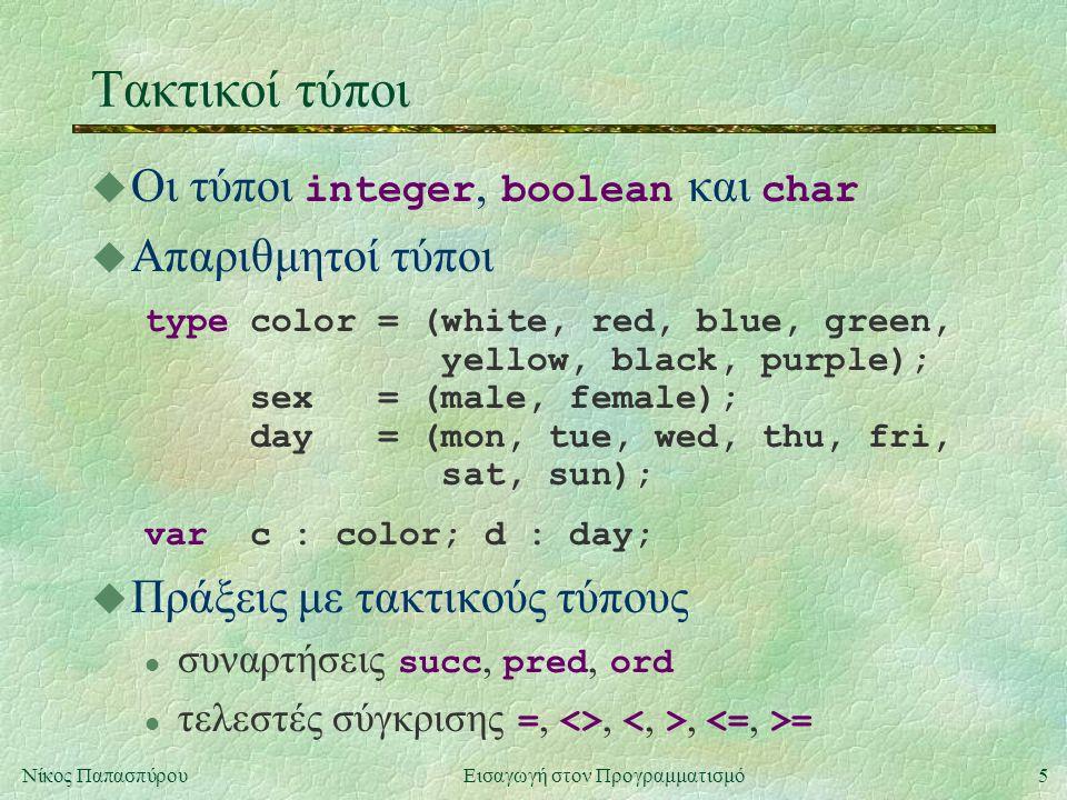 5Νίκος Παπασπύρου Εισαγωγή στον Προγραμματισμό Τακτικοί τύποι  Οι τύποι integer, boolean και char u Απαριθμητοί τύποι type color = (white, red, blue,