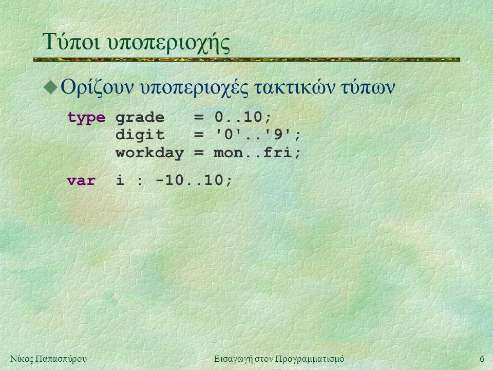 6Νίκος Παπασπύρου Εισαγωγή στον Προγραμματισμό Τύποι υποπεριοχής u Ορίζουν υποπεριοχές τακτικών τύπων type grade = 0..10; digit = '0'..'9'; workday =