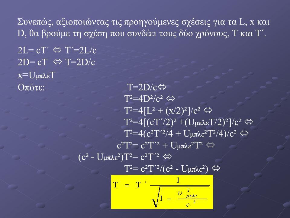 Συνεπώς, αξιοποιώντας τις προηγούμενες σχέσεις για τα L, x και D, θα βρούμε τη σχέση που συνδέει τους δύο χρόνους, T και T΄. 2L= cT΄  T΄=2L/c 2D= cT