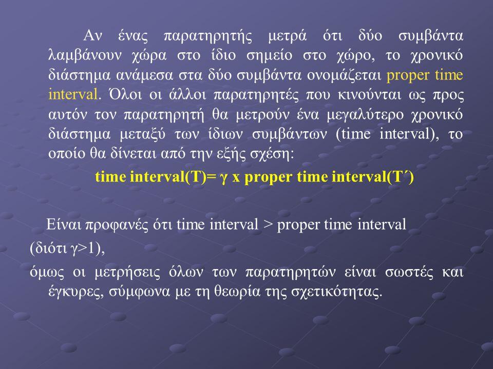 Αν ένας παρατηρητής μετρά ότι δύο συμβάντα λαμβάνουν χώρα στο ίδιο σημείο στο χώρο, το χρονικό διάστημα ανάμεσα στα δύο συμβάντα ονομάζεται proper tim