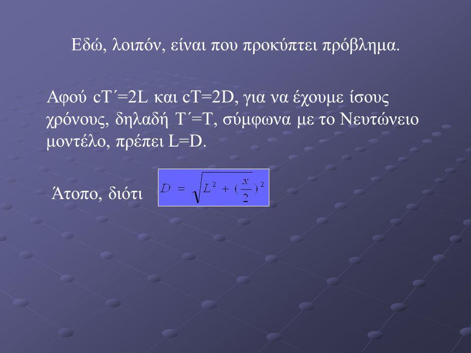 Εδώ, λοιπόν, είναι που προκύπτει πρόβλημα. Αφού cT΄=2L και cT=2D, για να έχουμε ίσους χρόνους, δηλαδή T΄=T, σύμφωνα με το Νευτώνειο μοντέλο, πρέπει L=