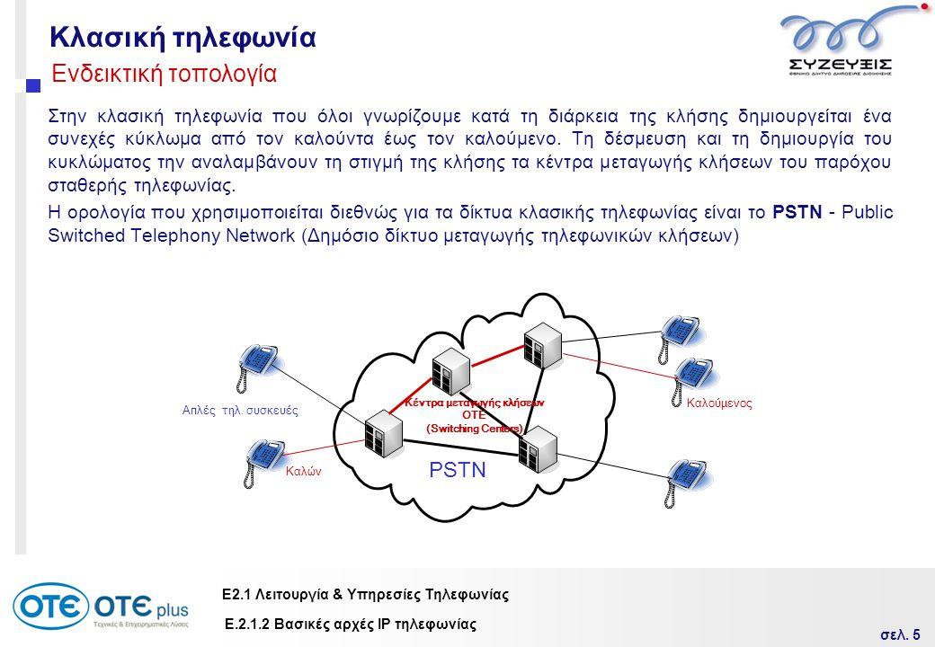σελ. 5 Ε2.1 Λειτουργία & Υπηρεσίες Τηλεφωνίας Κλασική τηλεφωνία Στην κλασική τηλεφωνία που όλοι γνωρίζουμε κατά τη διάρκεια της κλήσης δημιουργείται έ