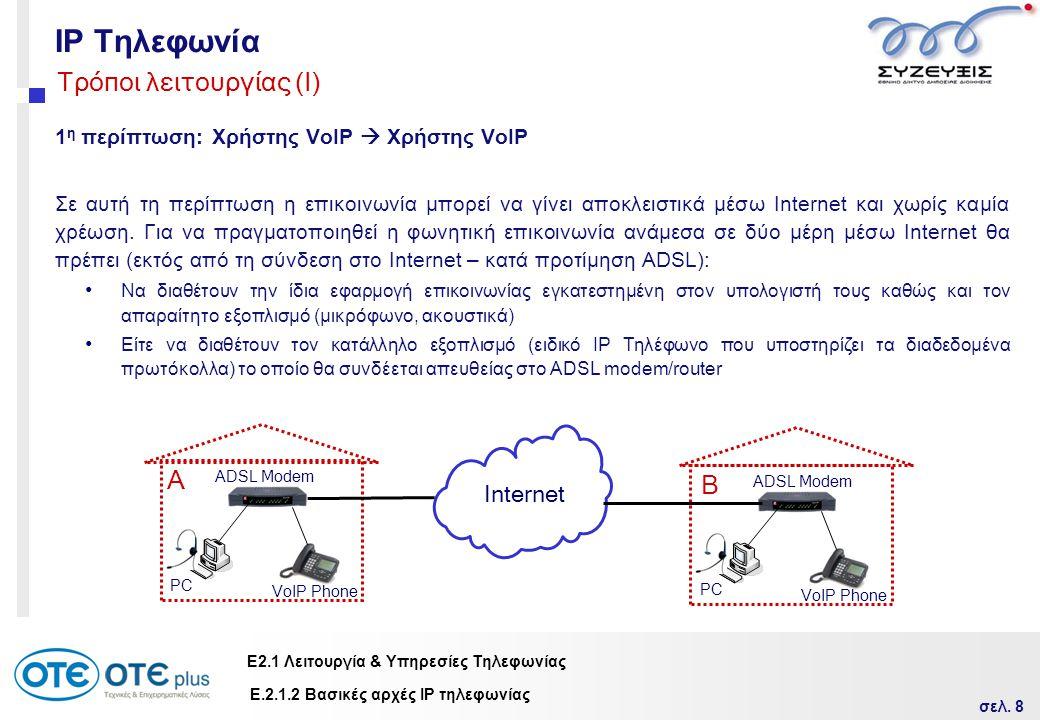 σελ. 8 Ε2.1 Λειτουργία & Υπηρεσίες Τηλεφωνίας IP Τηλεφωνία 1 η περίπτωση: Χρήστης VoIP  Χρήστης VoΙP Σε αυτή τη περίπτωση η επικοινωνία μπορεί να γίν