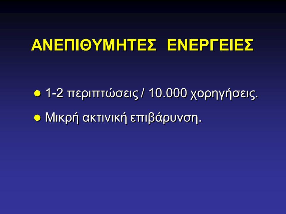 ΑΝΕΠΙΘΥΜΗΤΕΣ ΕΝΕΡΓΕΙΕΣ 1-2 περιπτώσεις / 10.000 χορηγήσεις. Μικρή ακτινική επιβάρυνση. 1-2 περιπτώσεις / 10.000 χορηγήσεις. Μικρή ακτινική επιβάρυνση.