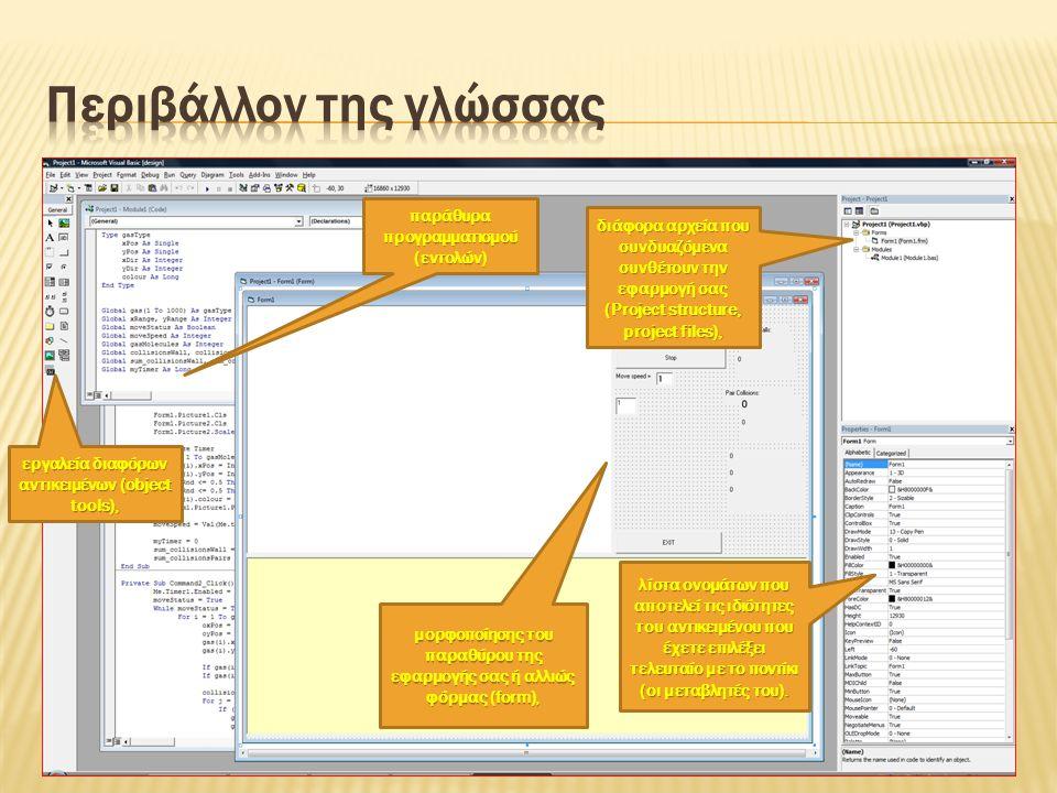  Το προηγούμενο σχήμα δείχνει την οθόνη του προγράμματος αφού αυτό έχει τρέξει για κάποιο χρόνο και μετά το παγώσαμε.