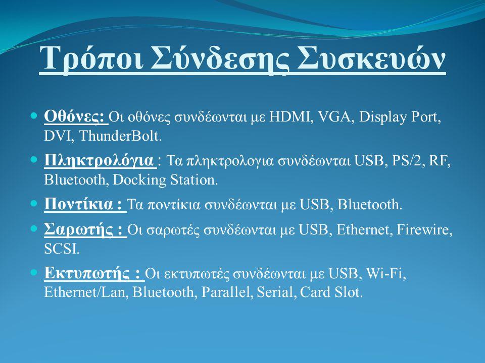 Τρόποι Σύνδεσης Συσκευών Οθόνες: Οι οθόνες συνδέωνται με HDMI, VGA, Display Port, DVI, ThunderBolt.