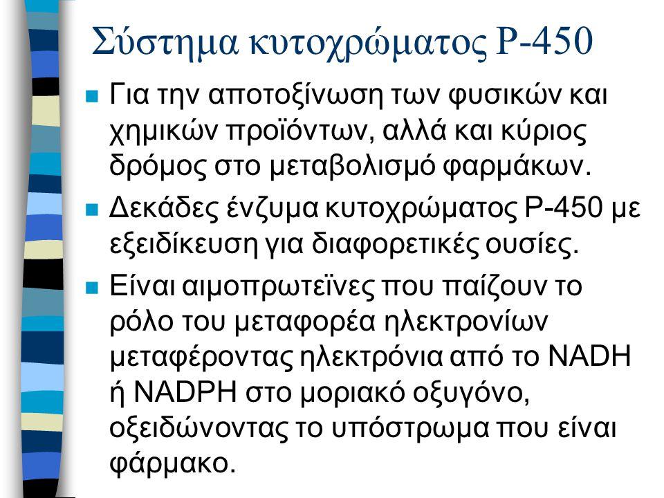 Σύστημα κυτοχρώματος P-450 n Για την αποτοξίνωση των φυσικών και χημικών προϊόντων, αλλά και κύριος δρόμος στο μεταβολισμό φαρμάκων. n Δεκάδες ένζυμα
