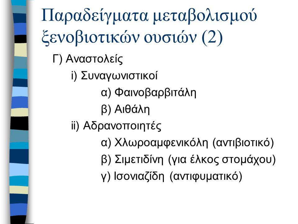 Παραδείγματα μεταβολισμού ξενοβιοτικών ουσιών (2) Γ) Αναστολείς i) Συναγωνιστικοί α) Φαινοβαρβιτάλη β) Αιθάλη ii) Αδρανοποιητές α) Χλωροαμφενικόλη (αν