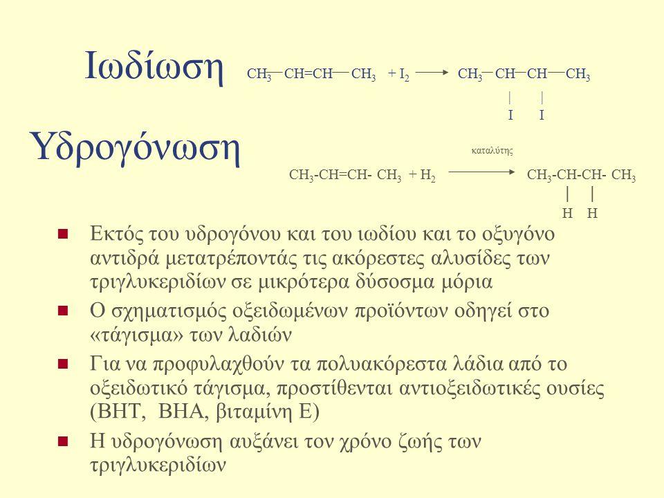 Ιωδίωση CH 3 CH=CH CH 3 + I 2 CH 3 CH CH CH 3 | | I I Εκτός του υδρογόνου και του ιωδίου και το οξυγόνο αντιδρά μετατρέποντάς τις ακόρεστες αλυσίδες τ
