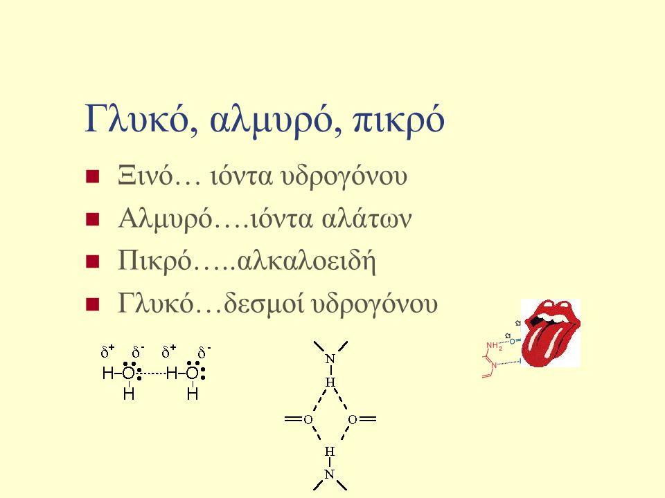 Γλυκό, αλμυρό, πικρό Ξινό… ιόντα υδρογόνου Αλμυρό….ιόντα αλάτων Πικρό…..αλκαλοειδή Γλυκό…δεσμοί υδρογόνου