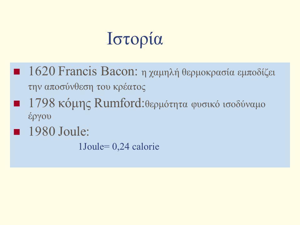 Ιστορία 1620 Francis Bacon: η χαμηλή θερμοκρασία εμποδίζει την αποσύνθεση του κρέατος 1798 κόμης Rumford: θερμότητα φυσικό ισοδύναμο έργου 1980 Joule: