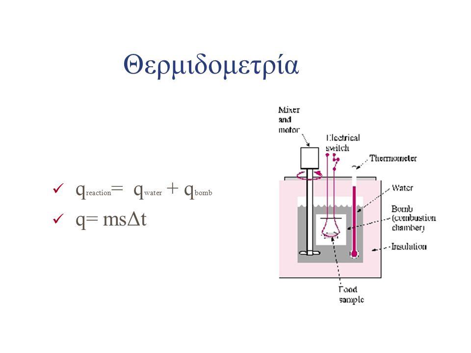 Θερμιδομετρία q reaction = q water + q bomb q= msΔt