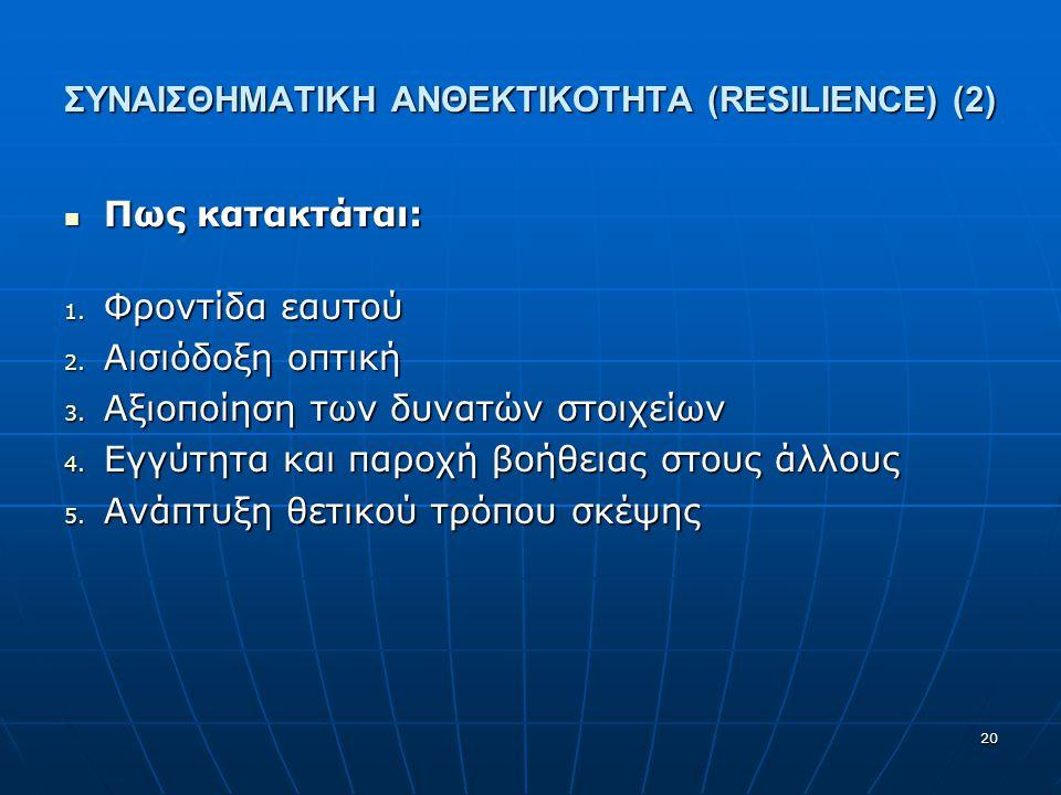 ΣΥΝΑΙΣΘΗΜΑΤΙΚΗ ΑΝΘΕΚΤΙΚΟΤΗΤΑ (RESILIENCE) (2) Πως κατακτάται: Πως κατακτάται: 1. Φροντίδα εαυτού 2. Αισιόδοξη οπτική 3. Αξιοποίηση των δυνατών στοιχεί