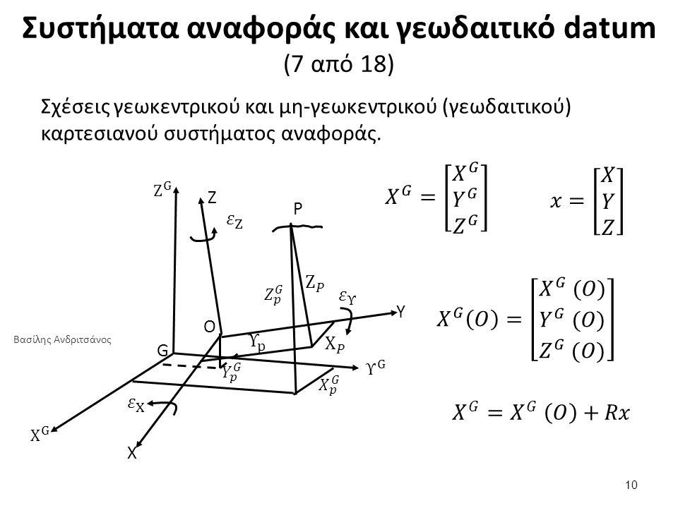 Συστήματα αναφοράς και γεωδαιτικό datum (7 από 18) Σχέσεις γεωκεντρικού και μη-γεωκεντρικού (γεωδαιτικού) καρτεσιανού συστήματος αναφοράς. Z P G O Υ X