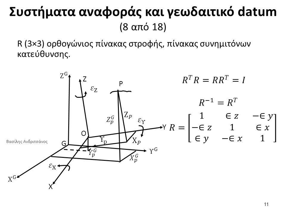 Συστήματα αναφοράς και γεωδαιτικό datum (8 από 18) R (3×3) ορθογώνιος πίνακας στροφής, πίνακας συνημιτόνων κατεύθυνσης. Z P G O Υ X 11 Βασίλης Ανδριτσ