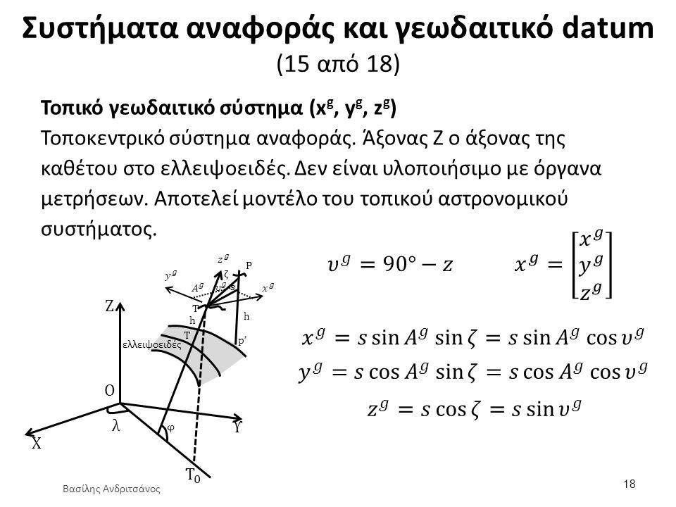 Συστήματα αναφοράς και γεωδαιτικό datum (15 από 18) Τοπικό γεωδαιτικό σύστημα (x g, y g, z g ) Τοποκεντρικό σύστημα αναφοράς. Άξονας Ζ ο άξονας της κα