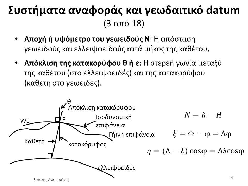 Συστήματα αναφοράς και γεωδαιτικό datum (12 από 18) Σχέση γεωκεντρικού και τοπικού αστρονομικού συστήματος (x a, y a, z a ) 15 (X G, Y G, Z G ) σε μορφή πινάκων A G Φ Φ A Τ Ζ S P g υ W πίνακας στροφής 3×3 συναρτήσει των αστρονομικών συντεταγμένων (Φ, Λ) Βασίλης Ανδριτσάνος
