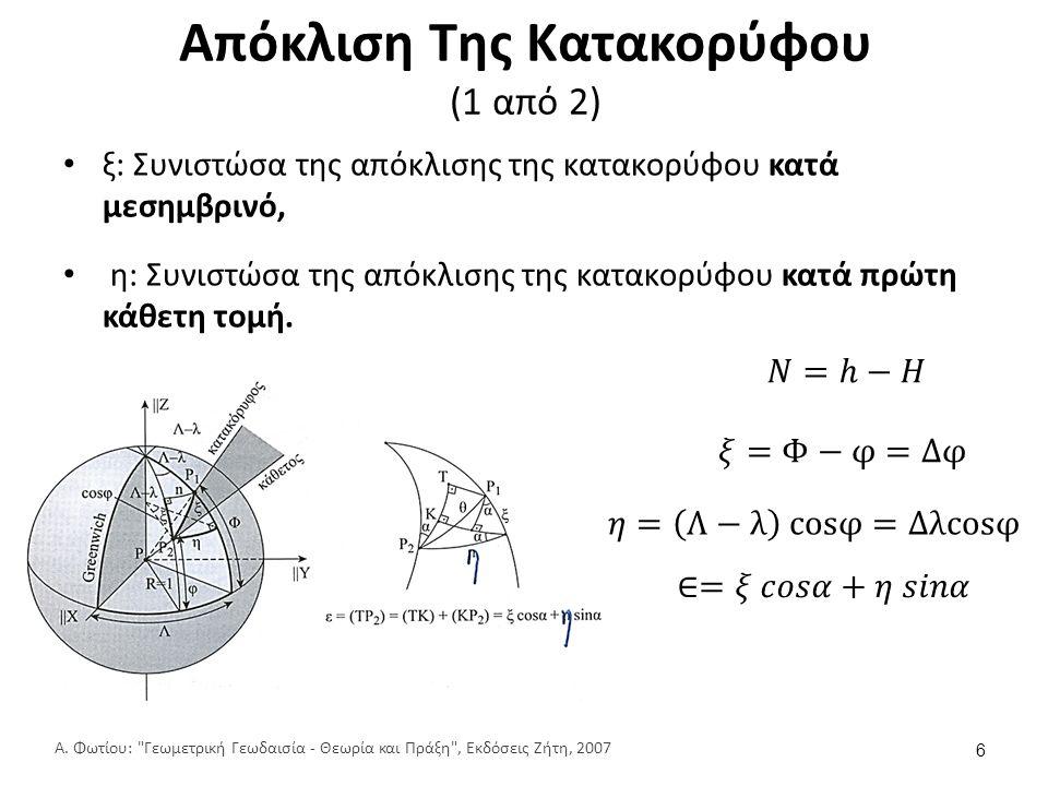 Συστήματα αναφοράς και γεωδαιτικό datum (14 από 18) Αναγωγές: προβολές των σημείων παρατηρήσεων από τη γήινη επιφάνεια στο ελλειψοειδές κατά μήκος της καθέτου.