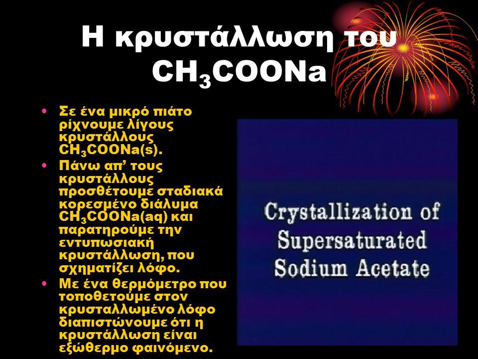 Η κρυστάλλωση του CH 3 COONa Σε ένα μικρό πιάτο ρίχνουμε λίγους κρυστάλλους CH 3 COONa(s). Πάνω απ' τους κρυστάλλους προσθέτουμε σταδιακά κορεσμένο δι