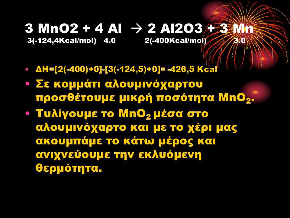 3 MnO2 + 4 Al  2 Al2O3 + 3 Mn 3(-124,4Kcal/mol) 4.0 2(-400Kcal/mol) 3.0 ΔΗ=[2(-400)+0]-[3(-124,5)+0]= -426,5 Kcal Σε κομμάτι αλουμινόχαρτου προσθέτου