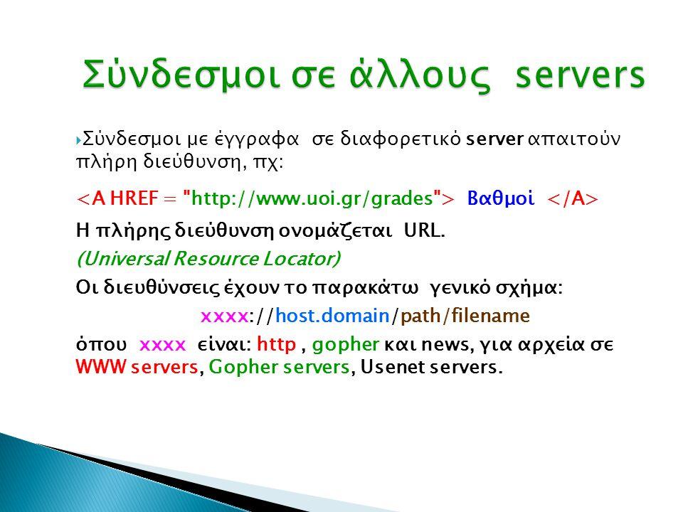  Σύνδεσμοι με έγγραφα σε διαφορετικό server απαιτούν πλήρη διεύθυνση, πχ: Bαθμοί Η πλήρης διεύθυνση ονομάζεται URL. (Universal Resource Locator) Οι δ