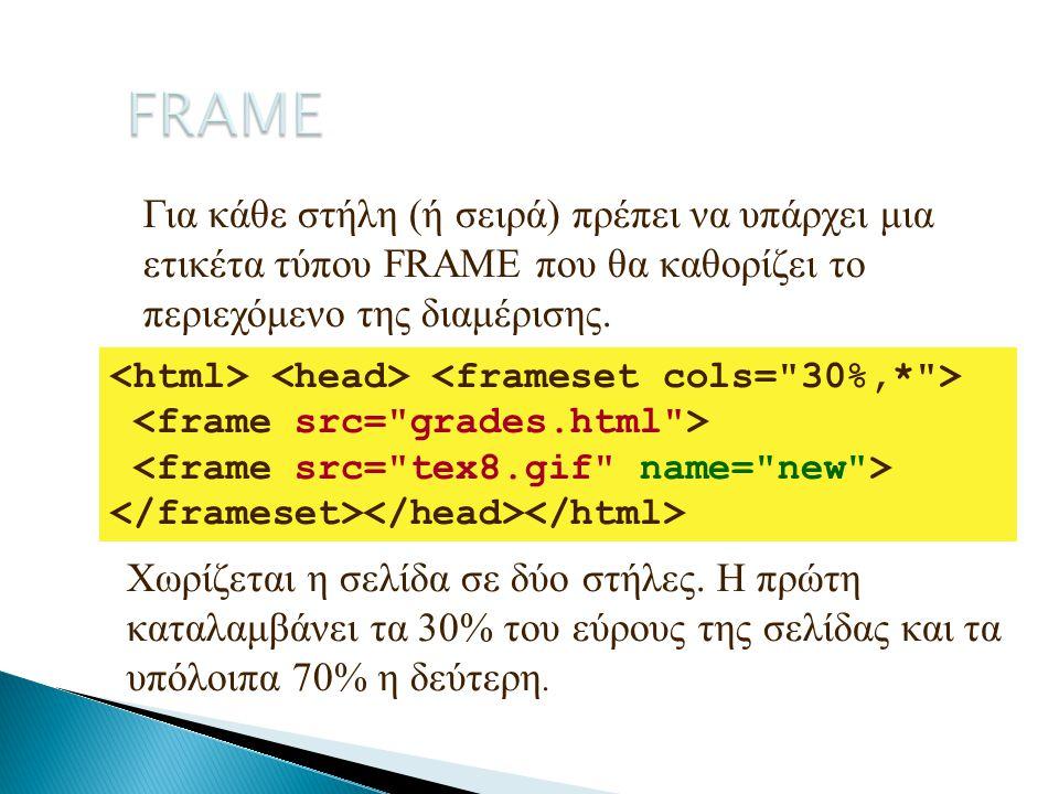 Για κάθε στήλη (ή σειρά) πρέπει να υπάρχει μια ετικέτα τύπου FRAME που θα καθορίζει το περιεχόμενο της διαμέρισης. Χωρίζεται η σελίδα σε δύο στήλες. Η