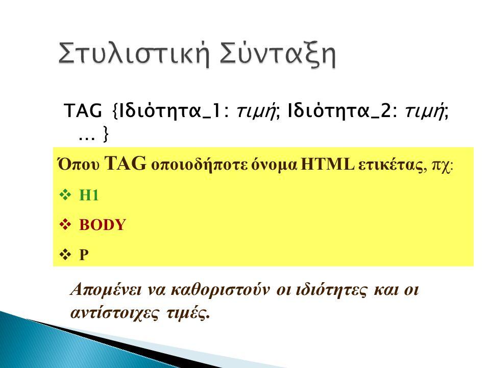 TAG { Ιδιότητα_1: τιμή; Ιδιότητα_2: τιμή; … } Όπου TAG οποιοδήποτε όνομα HTML ετικέτας, πχ :  Η1  BODY  P Απομένει να καθοριστούν οι ιδιότητες και