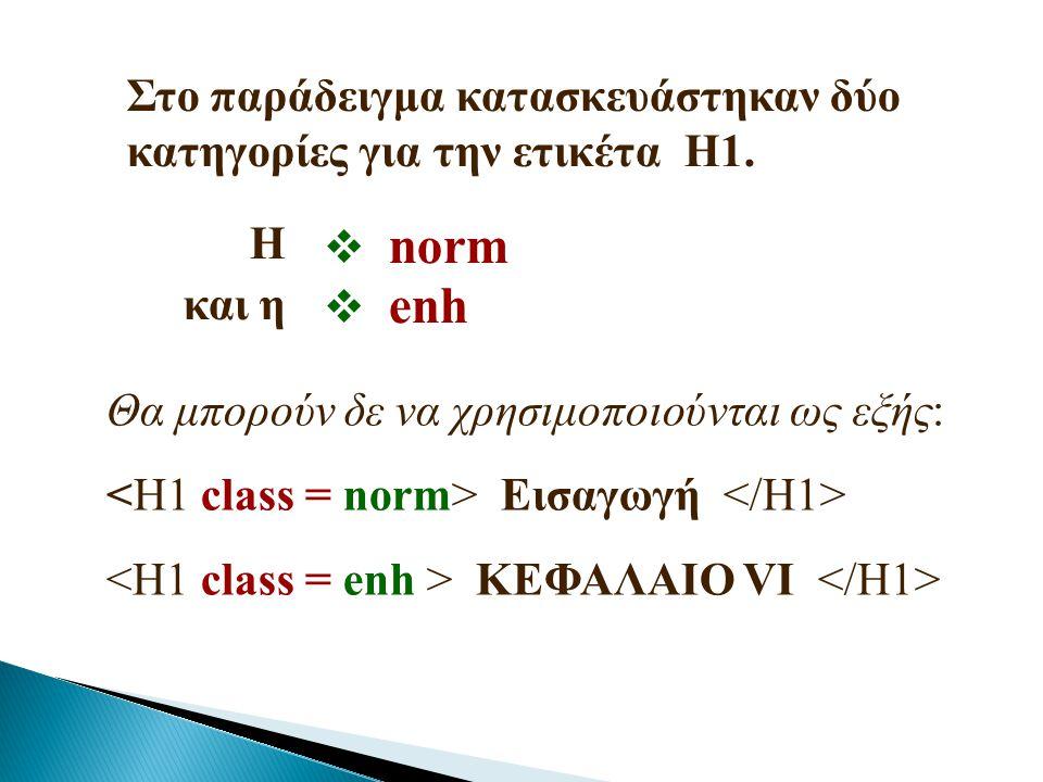 Στο παράδειγμα κατασκευάστηκαν δύο κατηγορίες για την ετικέτα Η1.  norm  enh Θα μπορούν δε να χρησιμοποιούνται ως εξής: Εισαγωγή ΚΕΦΑΛΑΙΟ VI Η και η