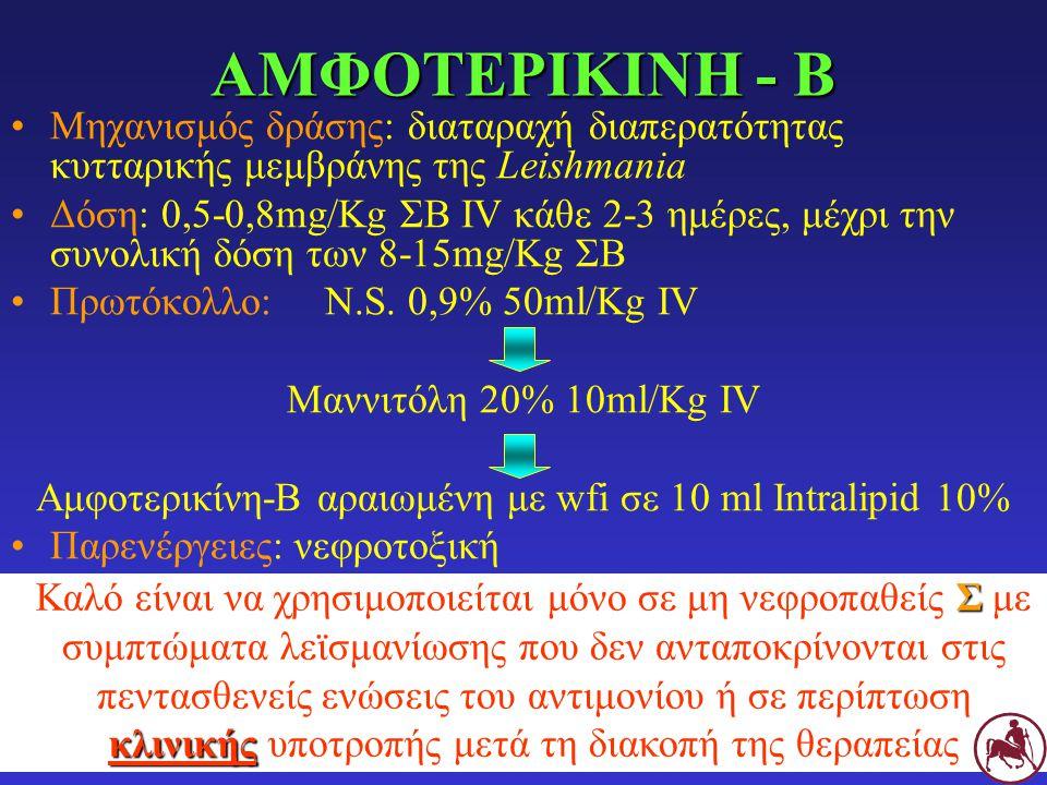 ΑΜΦΟΤΕΡΙΚΙΝΗ - Β Μηχανισμός δράσης: διαταραχή διαπερατότητας κυτταρικής μεμβράνης της Leishmania Δόση: 0,5-0,8mg/Kg ΣΒ IV κάθε 2-3 ημέρες, μέχρι την σ