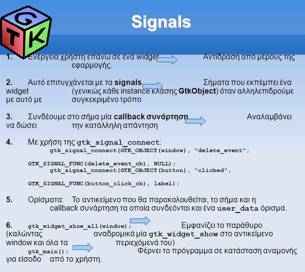 Signals 1.Ενέργεια χρήστη επάνω σε ένα widgetΑντίδραση από μέρους της εφαρμογής.